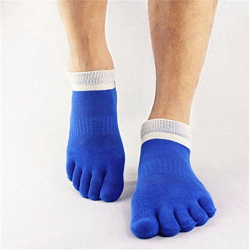 Bluelover 1 Paar Herren Baumwolle Zehensocken Fünf Finger Sport Outdoor Work Baumwoll Farben - Blau