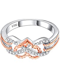 Heart Jewelry Rings Fashion Crystal Engagement Ring Wedding Ring For Women - Size 9 (Rose Gold And Silver)