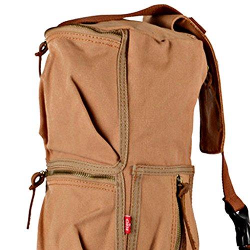 MagiDeal Vintage Grande Zaino Bagaglio Di Viaggio Tela Borse Sacchetto per Campeggio Trekking - 3 Colori - Verde Militare Kaki