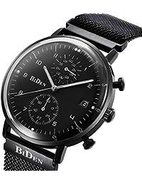 BINZI Stainless Steel Milanese Chronograp Loop Strap Men's Watches Waterproof Quartz Business Luxury WristWatches...