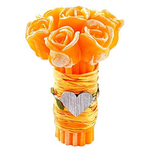 Decornac mazzo di rose arancione [ candela profumata ] idea regalo compleanno bouquet hand made rosa aroma arancia