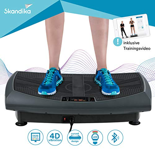 skandika 4D Vibrationsplatte V2000 Vibration Plate im Curved Design mit Smart LED Technologie, Trainingsvideo und Bluetooth-Lautsprecher (grau)