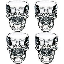 easytar cristallo 3d, teschio pirata Liquore bevande birra tazza, set di 4