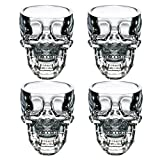 EASYTAR Cristal 3D Skull Pirate Shot Verre à cocktail bière tasse Coupe , Lot de 4
