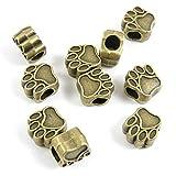 Abalorios de joyería de tono bronce envejecido N6IS3C con diseño de huellas de oso, cuentas sueltas para manualidades y manualidades, metal, antique bronze