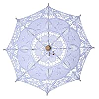 7y/dy/ Superior Handmade Cotton Vintage Style Lady Parasol Sun Umbrella Lace Bridal Wedding Umbrella(None M White 43/45 cm in diameter)