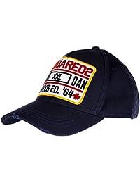 Dsquared2 sombrero en algodón ajustable hombre nuevo gabardine blu