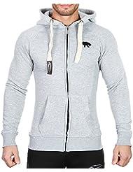 SMILODOX Slim Fit Kapuzenpullover Herren | Zip Hoodie für Sport Fitness Gym Training & Freizeit | Trainingsjacke - Sportpullover - Sweatjacke - Kapuzenpulli