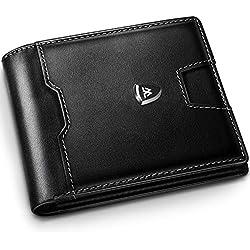 Wilbest Billetera hombre, cartera hombre, cartera hombre piel, carteras hombre con monedero, cartera inteligente - 1.5 x 11.5 x 9.5cm con caja de regalo, cuero genuino negro