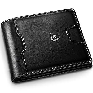 Portafoglio Uomo RFID Blocking con cartoline e borsa,Trifold Slim Portafogli in vera pelle con tasca con cerniera,12… 9 spesavip