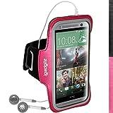 igadgitz Reflektierenden Anti-Rutsch Pink Rosa Sports Jogging Armband Laufen Fitness Oberarmtasche für HTC One MINI 2 2014 Mit Schlüsselfach