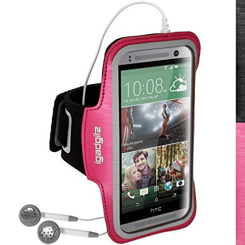 igadgitz Reflektierenden Anti-Rutsch Pink Rosa Sports Jogging Armband Laufen Fitness Oberarmtasche für HTC One MINI 2 2014 Mit Schlüsselfach (Htc One M8 Case Mit Armband)