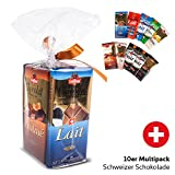 10er Multipack Schweizer Schokolade 1kg - 10er Multipack Tafelschokolade in 7 Sorten - Milchschokolade, Weisse Schokolade, Trüffel, Zartbitterschokolade etc. - 10 x 100g