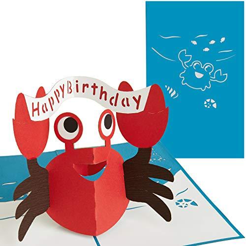 PaperCrush® Pop-Up Karte Happy Birthday Krabbe [NEU!] - Lustige 3D Geburtstagskarte für Mädchen und Jungen (Kindergeburtstag), Handgemachte Glückwunschkarte zum Kinder Geburtstag (Geburtstags-karte 1.)