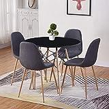 GOLDFAN Table de Salle à Manger avec 4 Chaises Bois Ronde Table avec 4 Chaises en Tissu Scandinave pour Cuisine Salon Salle à