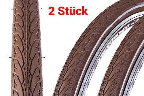 """2 Stück 28\"""" Zoll Fahrrad Reifen 622x42 Mantel 28x1.6 Decke braun Reflex Streifen Trekking City"""