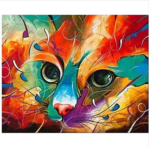 WACYDSD Malen Nach Zahlen Farbe Gesicht Katze DIY Einzigartiges Geschenk Handgemaltes Ölgemälde Für Hauptwanddekor Kunstwerke Frameless (Wolf Gesicht Malen)