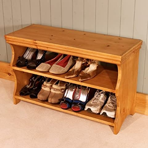 Shoe Storage Cabinet, Rack, Bench, Stool - Pine (Antique Pine)