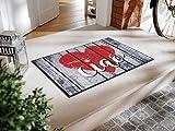 Bavaria-Home-Style-Collection Fußmatte wash+Dry Design Herz Rot Grau Ciao 50x75 cm waschbar