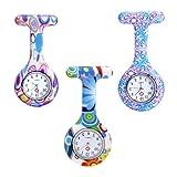 JSDDE Uhren,3x Krankenschwester FOB-Uhr Damen Taschenuhr Analog Quarzuhr Silikon Tunika Brosche Taschenuhr Set