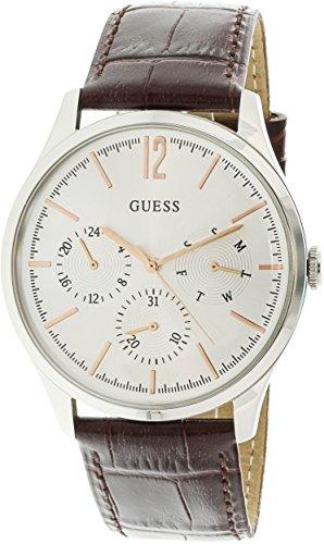 GUESS Regent Homme 42mm Bracelet Cuir Marron Quartz Analogique Montre W1041G1