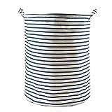 Laat - Cesta  portabiancheria - in cotone, lino, - pieghevole - per armadio, da lavanderia - colore ambrato - durevole - per vestiti, giocattoli - 12colori, Tessuto, Stripe, 35*35*45
