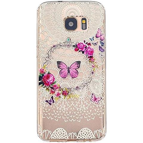 TKSHOP Case Cover Per Samsung Galaxy S7 Edge Custodia TPU Silicone Gel Morbido Trasparente Caso Anti-impronte digitali Antigraffio Bello Dipinto - Viola corona farfalla