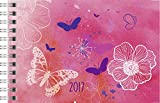 Rido/idé (7017138) Taschenkalender Septimus (2 Seite = 1 Woche, 152 x 102 mm, PP-Einband Schmetterling, Kalendarium 2017)