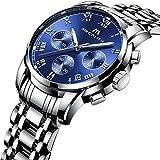 Herren Edelstahl Uhren Männer Chronograph Luxus Design Wasserdicht Datum Kalender Armbanduhr Geschäfts Beiläufig Sport Kleid Analog Quarz Uhr mit Römische Ziffern Blau Zifferblatt Silber Uhrenarmband
