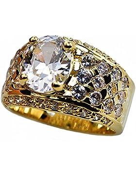 ISADY - Reno - Herren-Ring - 585er 14K Gold platiert - Zirkonium Transparent