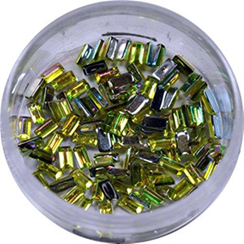 RM Beautynails dans vert clair rectangle strass paillettes strass env. 50 pièces pour Nail Art et Manucure Design