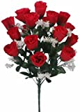 18 head RED rose buds artificial flower bush weddings/graves