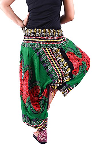 AuthenticAsia - Dashiki Hose Kollection - 2 in 1 Haremshose Hippie Gypsy Ginnie Hosen Jumpsuit DAP-005_green