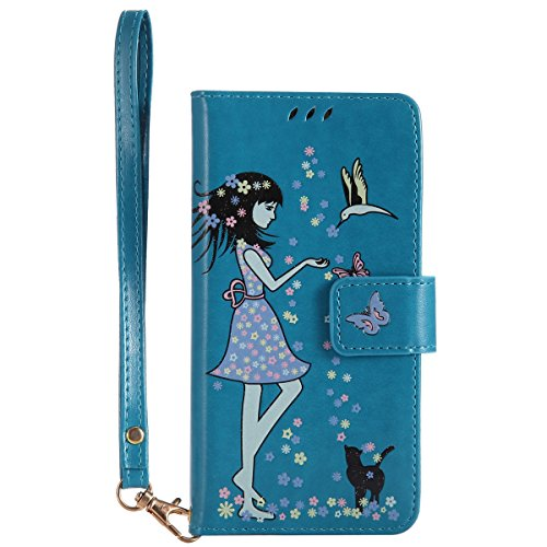 Custodia iPhone X, iPhone X Cover Wallet, SainCat Custodia in Pelle Flip Cover per iPhone X, Ultra Sottile Anti-Scratch Book Style Custodia Morbida Cover Protettiva Caso PU Leather Custodia Libretto A Blu