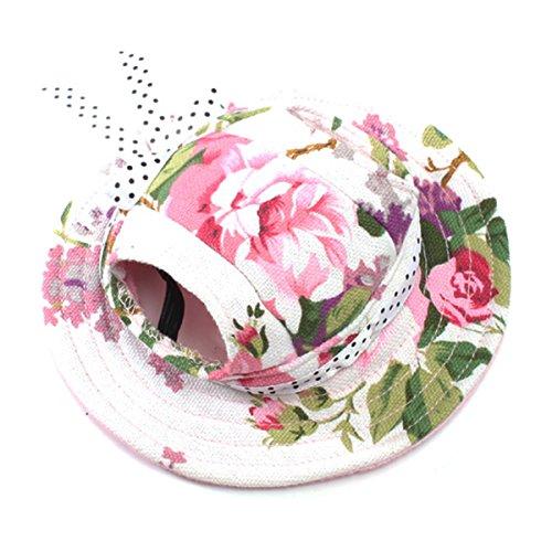 UEETEK Perro de animal doméstico lona sombrero sol-shading tapa con agujeros de oreja para perros pequeños - tamaño M (impresión Floral)