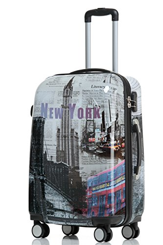 Reisekoffer 2060 Hartschalen Trolley Kofferset in 12 Motiven SET--XL-L--M-- Beutycase (NewYork, XL)