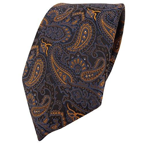 TigerTie Designer Krawatte in braun bronze gold blau schwarz Paisley gemustert Paisley Designer