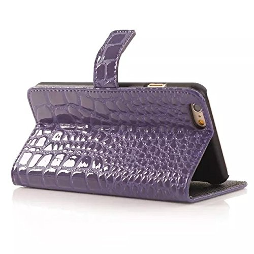 iPhone Case Cover krokodil - leder - fall für brieftasche muster oberfläche stehen für iphone6 65 ( Color : Purple , Size : Iphone6 6s ) Purple