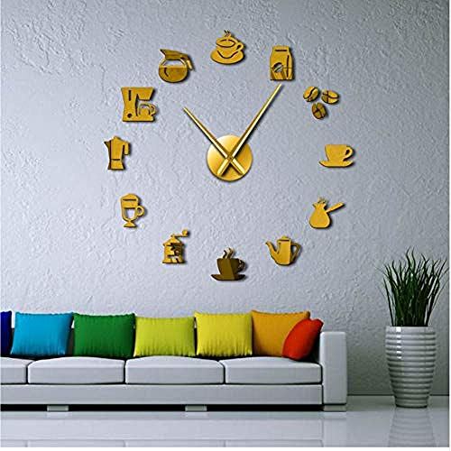 Kaffeebecher Wandkunst Kaffee Zeit Riesen Wanduhr Bastel Cafe Haus DIY Aufkleber Dekorsive Große Hände Rahmenlose Große Uhr 47 Zoll