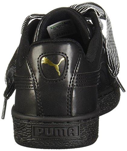 PUMA Women s Basket Heart Wn Sneaker  Black Black  8 M US