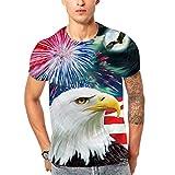 Sonnena Herrenmode 5D Feuerwerk Adler Gedruckt Realistische Flood Printed Kurzarm Top Bluse Deals T-Shirt Jungen Männer Pullover Rundhals Basic Top Gentleman Slim Fit Shirt