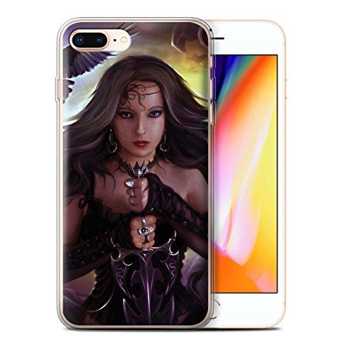 Officiel Elena Dudina Coque / Etui Gel TPU pour Apple iPhone 8 Plus / Feu et d'Acier Design / Super Héroïne Collection Coeur Noir