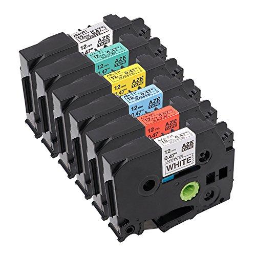 6x Schriftband Label Tape /Label cassette Kompatibel zu Brother TZe-231 Schwarzem auf Weiß, TZe-431 Schwarzem auf Rot, TZe-531 Schwarzem auf Blauem, TZe-631 Schwarzem auf Gelbem, TZe-731 Schwarzem Auf grünem TZe-931 Schwarzem Auf Silber 12mm x 8m