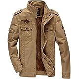 KEFITEVD Outwear Winter Jacket Military Cargo Field Front Zip Cotton Fleece Coats For Men Khaki