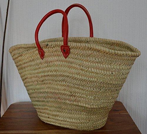 Rot Marokkanische Schulter Markt Warenkorb–Rot Schultern Leder Griffe–56D18H32- (Französisch-markt Korb)