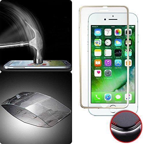 Donkeyphone - PROTECTOR DE PANTALLA COMPLETA DE CRISTAL CURVO 3D CON BORDE FILO BISELADO EFECTO ALUMINIO ORO DORADO PARA IPHONE 7 PLUS - VIDRIO TEMPLADO - CUBRE TODA LA PANTALLA - DUREZA 9H - ESQUINAS REDONDEADAS 3D - CON CAJA DURA Y ACCESORIOS