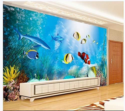 Murale Carta Da Parati Muro Di Fondo Di Acquario Di Pesci Tropicali Mondo Subacqueo 3D Tv, 250Cmx175Cm (98,4 Per 68,9 In)