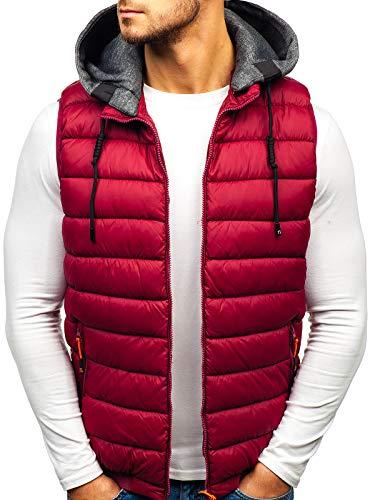 BOLF Gilet – Trapuntato – Senza cappuccio – A zip – Sportivo – Di moda – Da uomo S WEST 1261 Bordò 3XL