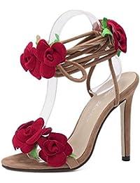 SHINIK Mujeres Ankle Strap Bombas T Stage Show Ten Rosas Cruz Lace Tacones Altos Sandalias Zapatos Cono Heel Damas Bombas Corte Zapatos Albaricoque , apricot , 40