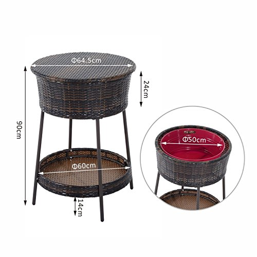 Outsunny Rattan Ice Bucket Bar Table Cooler Cool Drink Coffee Party Pool Garden Patio Storage